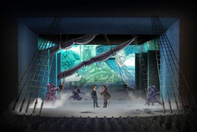 "The A.R.T. will stage the premiere of ""Finding Neverland."" Pictured is a rendering of the set (photo 1) for the new musical about the real-life genesis of J.M. Barrie's ""Peter Pan.""  A.R.T. Artistic Director Diane Paulus (photo 2) sees Barrie as a kindred spirit, an artist willing to take chances and break the rules ""for great things to happen."" Young actors met with Paulus during the show's workshop (photo 3)."