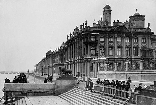 The Winter Palace, above in 1862, was the official residence of the Russian monarchy; it now houses the State Hermitage Museum. Many of the royal family's personal photographs returned to the palace after decades elsewhere.