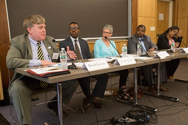"A panel discussion Thursday titled ""Diversity Across the Spectrum: Further Reflections on the Continuum of Inclusion"" featured remarks by David Stevens (left to right), executive director, Massachusetts Councils on Aging; Norm Jones, associate chief diversity officer, Office of the Assistant to the President for Institutional and Diversity Equity; Mary Thomas, director of Harvard University Disability Services; Van Bailey, director of BGLTQ Student Life; and facilitated by Emelyn dela Pena, Harvard College's assistant dean of student life for equity, diversity and inclusion."