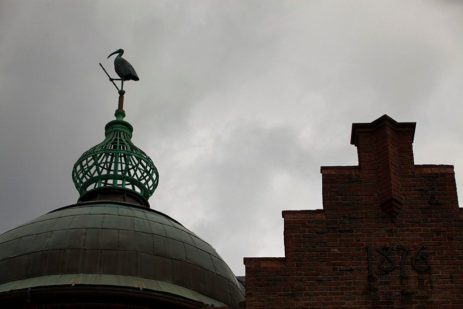The tower of the Harvard Lampoon Building (1909) is topped with a 4-foot copper ibis.