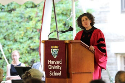 """The School held its 199th Convocation as hundreds of incoming students, faculty in academic robes, and other HDS community members gathered under a tent on the Andover Hall lawn and listened to Harvard Professor Laura S. Nasrallah deliver her address, """"The Matter of Religion and Theology."""""""