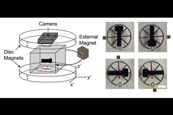 "An external magnet can be used to control the orientation of the screw head in the maglev device. ""What we've demonstrated in this paper is a noncontact method for manipulating objects,"" said Anand Bala Subramaniam, a postdoctoral fellow in chemistry and chemical biology."