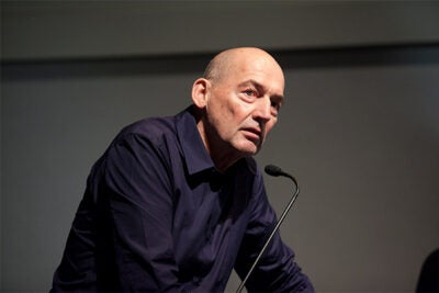 "Rem Koolhaas, professor in practice of architecture and urban design at the GSD, reprised the ""Elements of Architecture"" in Cambridge. File photo by Jon Chase/Harvard Staff Photographer"