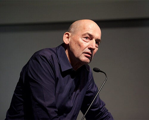 """Rem Koolhaas, professor in practice of architecture and urban design at the GSD, reprised the """"Elements of Architecture"""" in Cambridge. File photo by Jon Chase/Harvard Staff Photographer"""
