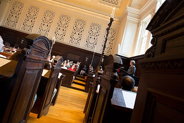 """I ask you today as we begin this new year to rededicate yourselves to that commitment, to that effort. To cherishing our diversity, to making it work, to enabling all of us to be our best selves. To all together performing that Harvard symphony,"" said President Drew Faust during the first Morning Prayers of the fall semester in Memorial Church's vaulted Appleton Chapel."