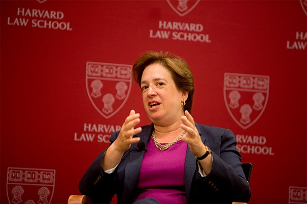 """I think it's an incredible group of people — smart, engaged, interesting, personable, really decent people. And I enjoy being with them,"" U.S. Supreme Court Justice Elena Kagan told her HLS audience.  ""Sometimes the folks who I disagree with are really among my favorites to spend time with."""