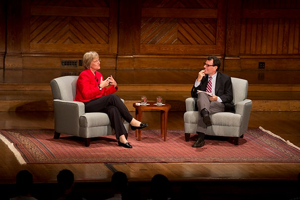 Background in the humanities is often an ingredient in leadership, Faust said.