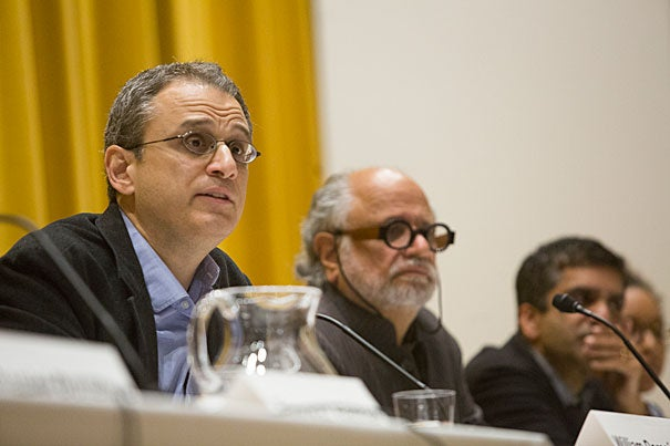 """Mahindra Humanities Center Director Homi Bhabha (center) and Harvard College Dean Rakesh Khurana (right) were two panelists in conversation with William Deresiewicz (left), the author of """"Excellent Sheep: The Miseducation of the American Elite and the Way to a Meaningful Life,""""  an acidic assessment of top-tier universities, their students, and the admissions process."""