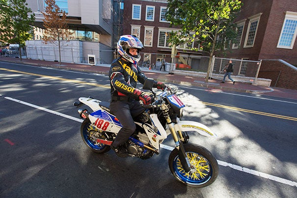 """""""If I was scared, I wouldn't do it,"""" said motocross competitor Dan White, who oversees shipping and receiving and does some purchasing for the Harvard Faculty Club."""