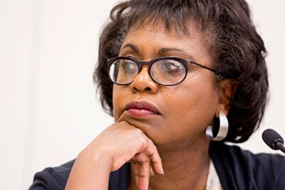 Anita Hill, on sabbatical from her position as a professor of law, social policy, and women's studies at Brandeis University, said she is currently doing work related to the thousands of letters she has received since the 1991 hearings for U.S. Supreme Court nominee Clarence Thomas.