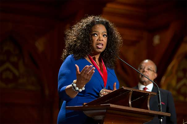 """Oprah Winfrey was one of the recipients of the W.E.B. Du Bois Medal at a ceremony hosted by Henry Louis Gates Jr. (photo 1). Also honored for their """"outstanding contributions to African-American culture"""" was U.S. Rep. John Lewis (photo 2), calypso legend Harry Belafonte (photo 3), seen here with Gates (from left), President Drew Faust, Glenn H. Hutchins '77, J.D.-M.B.A. '83, and film producer Harvey Weinstein."""