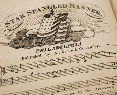 """Houghton Library's collection includes an early edition of the """"The Star-Spangled Banner,"""" likely printed sometime between 1816 and 1821 (photo 1). An illustration of the flag that inspired the piece was included in a packet of material printed as souvenirs for collectors (photo 2). Francis Scott Key (photo 3) as pictured in a book at Houghton."""