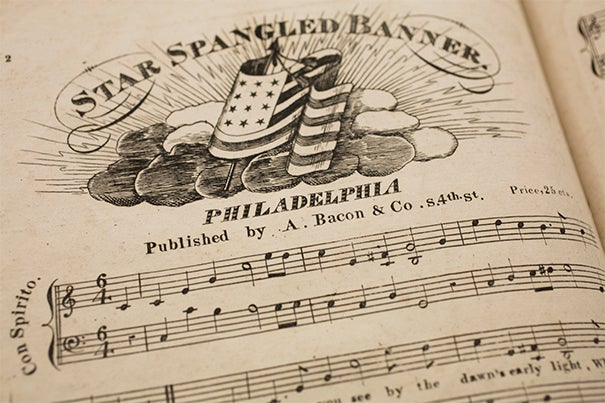 "Houghton Library's collection includes an early edition of the ""The Star-Spangled Banner,"" likely printed sometime between 1816 and 1821 (photo 1). An illustration of the flag that inspired the piece was included in a packet of material printed as souvenirs for collectors (photo 2). Francis Scott Key (photo 3) as pictured in a book at Houghton."