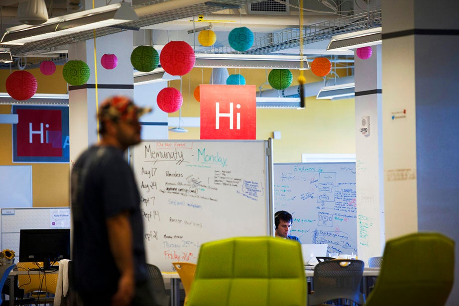 An overview of the Harvard Innovation Lab (i-lab) shows Phil Strazzulla from LifeGuides.me busy at work on his platform, which helps millennials navigate challenging life events.