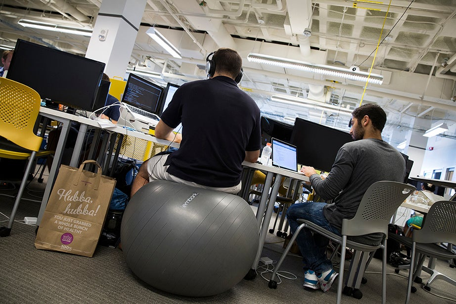 Ergonomics are an important part of the scene at the i-lab, with bouncing balls abounding.