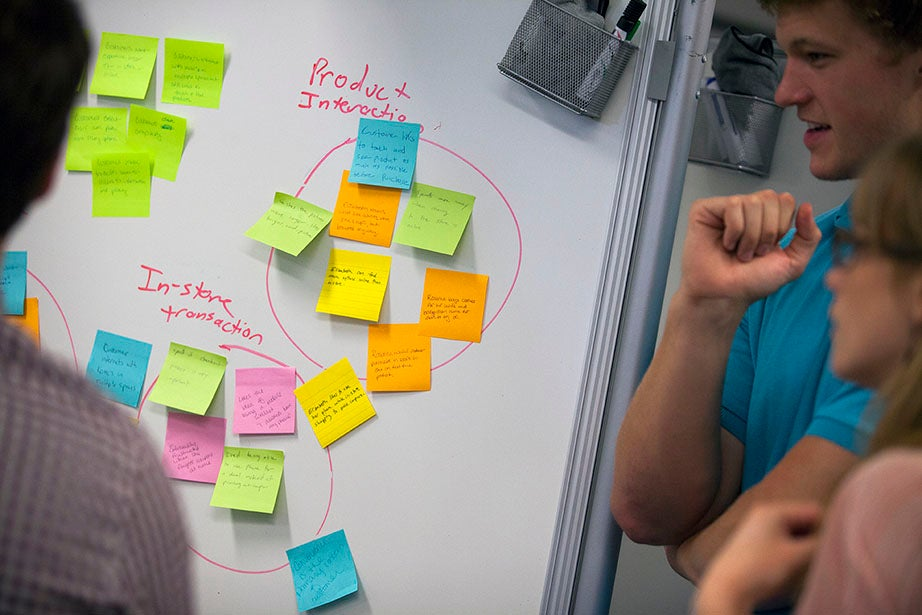 Students organize their ideas on Post-its covered boards.