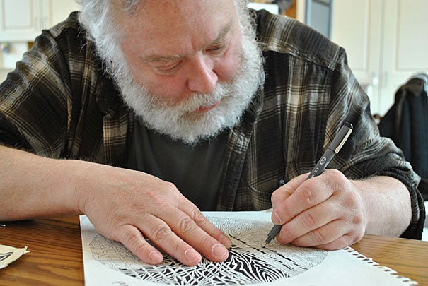 Scott Benner lives in a shelter in Quincy, Mass., but hopes to reclaim financial freedom through the sale of his pen and ink drawings through ArtLifting, an online marketplace founded by Liz Powers '10 (photo 2) and her brother Spencer. The website showcases artwork by men and women who are homeless, disadvantaged, or disabled.