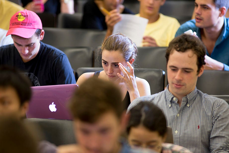 Undergraduates listen to Maya Jasanoff's lecture. Rose Lincoln/Harvard Staff Photographer