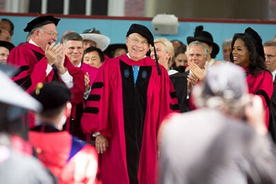 """""""No one I've known has personified Boston's heart and soul, its drive and its resilience, more than Tom Menino,"""" said President Faust of the five-term mayor, shown at Commencement exercises in 2013."""