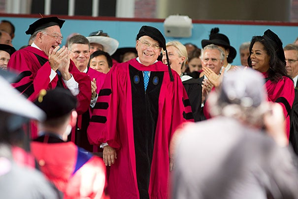 """No one I've known has personified Boston's heart and soul, its drive and its resilience, more than Tom Menino,"" said President Faust of the five-term mayor, shown at Commencement exercises in 2013."