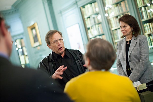 "At Houghton Library, Academy Award-winning filmmaker William Friedkin (left) gifted Harvard with the original documents for ""The Friedkin Connection."" Friedkin, director of ""The Exorcist"" and ""The French Connection,"" was joined by his wife, Sherry Lansing (right). Friedkin's memoir materials mark a new kind of collection for Harvard — cinema memoir."