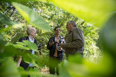 Peter Del Tredici (right, photo 1), associate professor of landscape architecture, talks with Teri Rueb  as they demonstrate the new app to GDS student Hector Tarrido (center). The Arnold Arboretum app (photo 2) provides a guided tour, complete with speakers placed throughout the trail, which Del Tredici points out (photo 3).