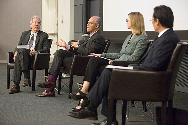 Harvard Art Museums Director Thomas W. Lentz (from left) moderated a discussion with MoMA Director Glenn Lowry, A.M. '78, Ph.D. '82, Elizabeth Cary Agassiz Professor of the Humanities Jennifer Roberts, and Paul Ha, director, List Visual Arts Center at MIT.
