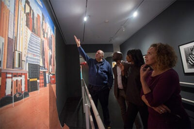 Jean Pigozzi (from left) discussed art from his collection on exhibit at the Cooper Gallery with co-curators David Adjaye, Mariane Ibrahim-Lenhardt, and the new gallery's director, Vera Grant.