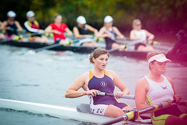 Canadian freshman Sofia Donnecke trained with her team for 2014 Head of the Charles.