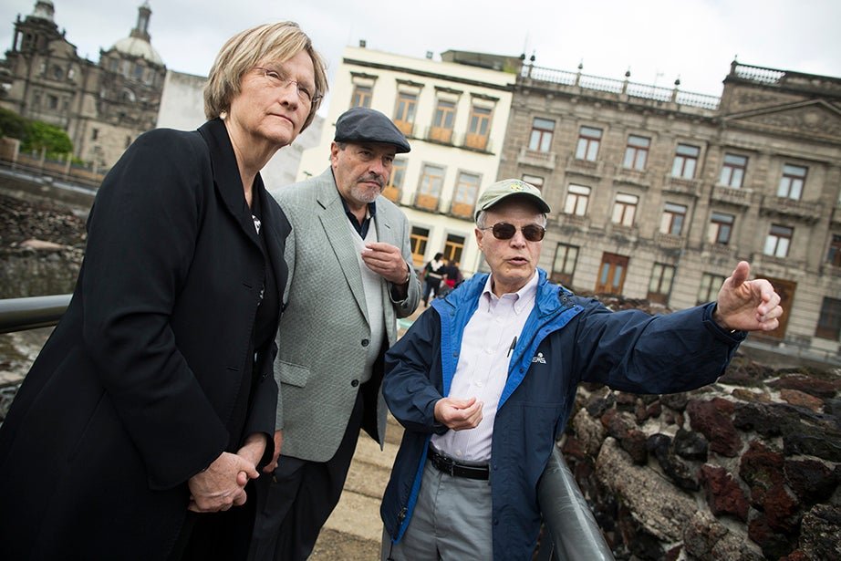 Drew Faust (from left), Museo del Templo Mayor Director Carlos Javier González, and Antonio Madero Professor for the Study of Mexico Jorge Domínguez tour the archaeological zone in Mexico City. Stephanie Mitchell/Harvard Staff Photographer
