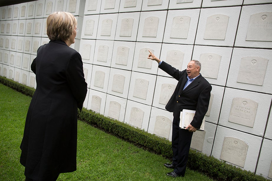 Drew Faust (left) and Hector de Jesus are pictured at the Mexico City National Cemetery. Stephanie Mitchell/Harvard Staff Photographer