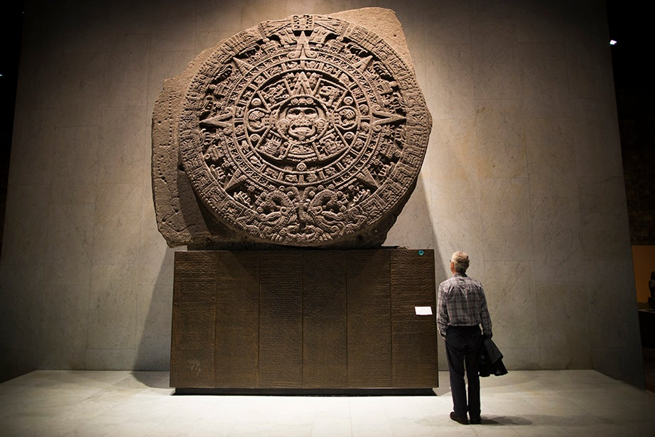 The Aztec sun stone at the Museo Nacional de Antropología. Stephanie Mitchell/Harvard Staff Photographer
