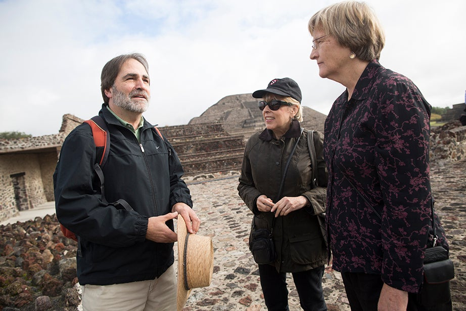 Charles P. Bowditch Professor of Central American and Mexican Archaeology and Ethnology Bill Fash (from left) leads Vice President for Alumni Affairs and Development Tamara Rogers and President Drew Faust through the site at Teotihuacan. Stephanie Mitchell/Harvard Staff Photographer