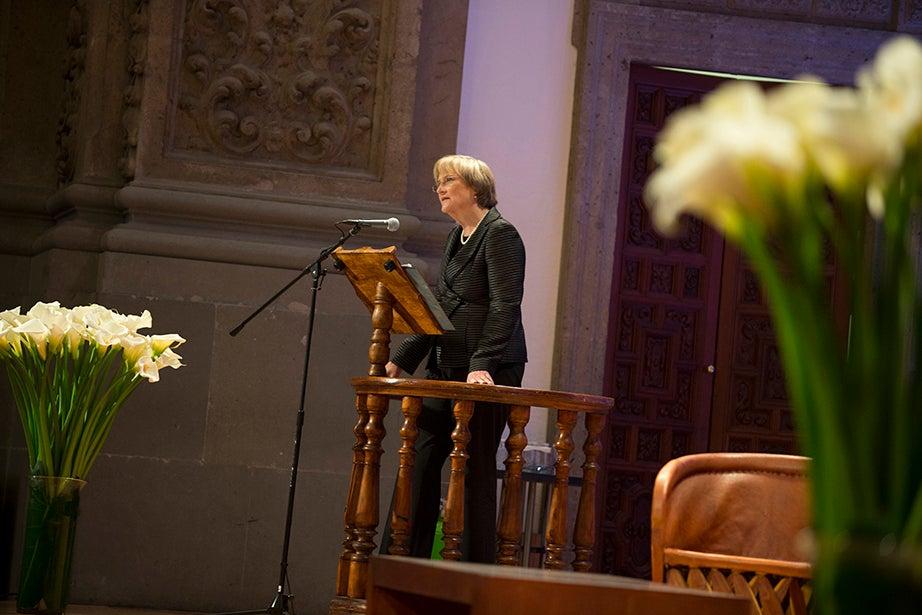 President Drew Faust makes her remarks. Stephanie Mitchell/Harvard Staff Photographer
