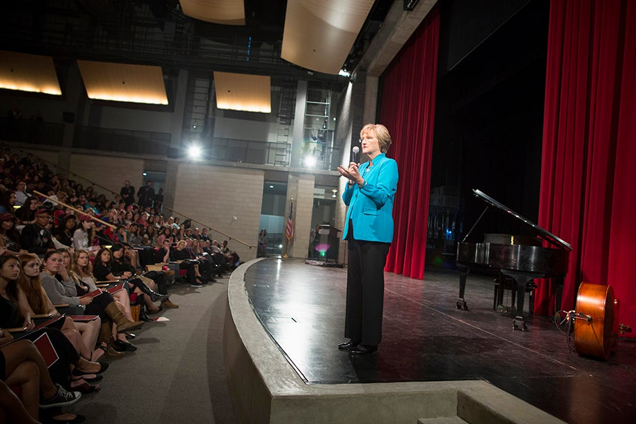 """President Drew Faust delivers her speech, """"The Case for College."""" Stephanie Mitchell/Harvard Staff Photographer"""
