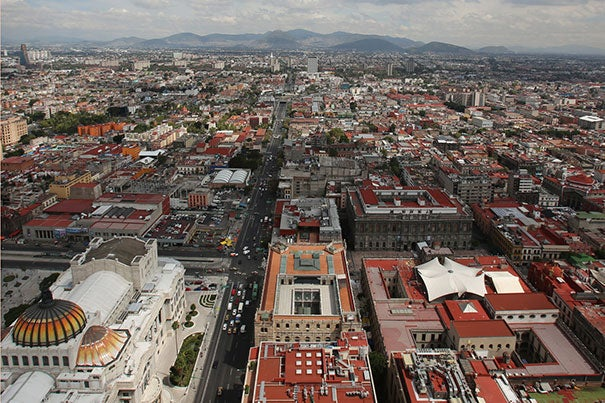 Air quality in Mexico City is influenced by the bowl-like valley it sits within, surrounded by pollution-trapping mountains like those in this 47-story view (photo 1). The city's heavy traffic accounts for most of the air pollution in this megacity of 22 million residents (photo 2). Yet it also has the largest bike-share program  (photo 3) in Latin America — one of a myriad of attempts to improve the city's environment and quality of life.