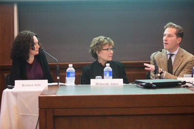Harvard Law School's Noah Feldman (from right) joined NPR correspondent Deborah Amos and Professor Kristen Stilt to discuss the fast-moving ideological evolution and spread of the ISIS in the Middle East.