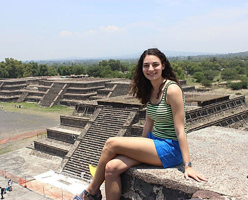 Within a Mexican landscape of mind-broadening horizons, Julia Cohn '15 sits at ease high among the ancient Mesoamerican pyramids of Teotihuacan, 30 miles northeast of Mexico City.
