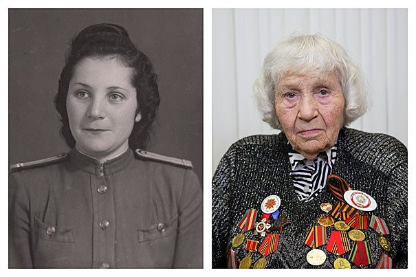 Klara Grigorievna Rinkina, now 91, served as a Red Army medic during what Russians still call the Great Patriotic War (photo 1). A postcard sent from the front in December 1943 by Ida Ferer to her mother, sharing that she received an Order of the Red Star Award (photo 2). Kiev infantry school cadet Semyon Rabovsky (laying down, center) with classmates, 1941 (photo 3).