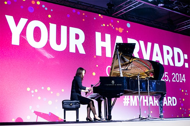 Harvard's support of the arts was clearly reflected at a Texas-sized Your Harvard celebration last Friday with performances by Steinway pianist Eveyln Chen '90 and Alison Brown and Friends.