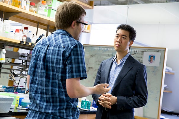 """We hope this approach to protein delivery will help connect where genome editing is now to where the field needs to be in order to realize the therapeutic potential of these proteins to address genetic diseases,"" said David Liu (right), a professor of chemistry and chemical biology. Liu and a team of researchers, which included John Zuris (left), have already demonstrated that the technology can be used to modify genes in living animals."