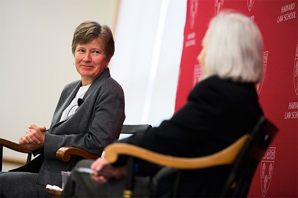 """""""The community is strongest when people are included and respected for who they are rather than locked out,"""" Glad director Mary Bonauto (left) told her Harvard Law School audience. Joining in the discussion was Dean Martha Minow, who said Bonauto is sometimes described as the """"Thurgood Marshall of the same-sex marriage movement."""""""