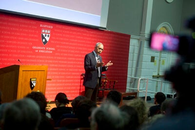 """Esteemed social psychologist and author Claude Steele gave a recent talk on his theory of """"stereotype threat"""" at the Harvard Graduate School of Education. The theory explains a universally experienced phenomenon of """"underperformance"""" that can occur even when smart students are, in fact, prepared, or when a white-hot spotlight withers the talented."""