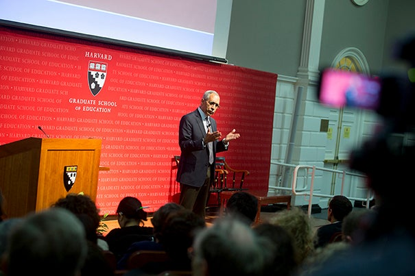 "Esteemed social psychologist and author Claude Steele gave a recent talk on his theory of ""stereotype threat"" at the Harvard Graduate School of Education. The theory explains a universally experienced phenomenon of ""underperformance"" that can occur even when smart students are, in fact, prepared, or when a white-hot spotlight withers the talented."