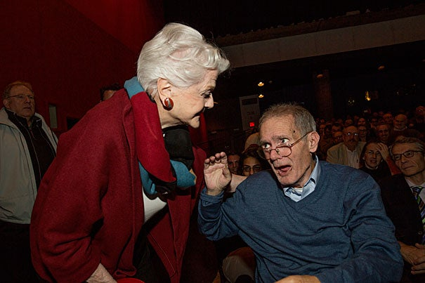 """Before a Harvard Film Archive (HFA) screening of her 1962 movie """"All Fall Down,"""" Angela Lansbury visited with old friend John M. Hallowell '63 (photo 1) and later spoke with HFA Director Haden Guest (photo 2). A clip from the film """"All Fall Down"""" shows Lansbury with Karl Malden (right, photo 3)."""