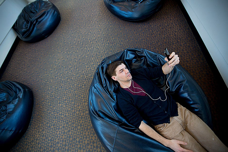 """The beanbags are one of the few, rare spaces at the Law School to escape the busyness of the place,"" said a student taking advantage of a quiet moment."