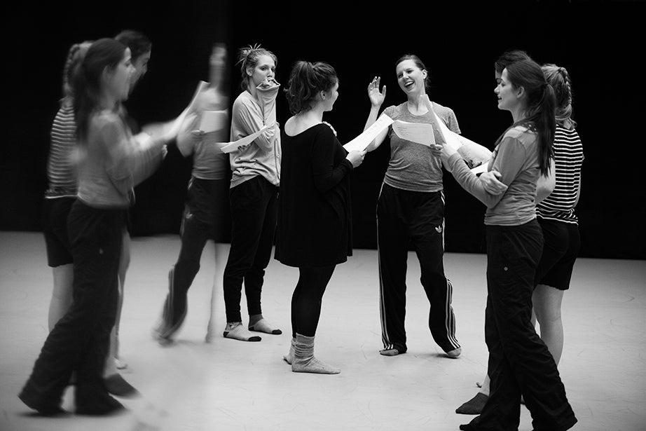 Jill Johnson (center) leads the Harvard Dance Project class at the Harvard Dance Center.