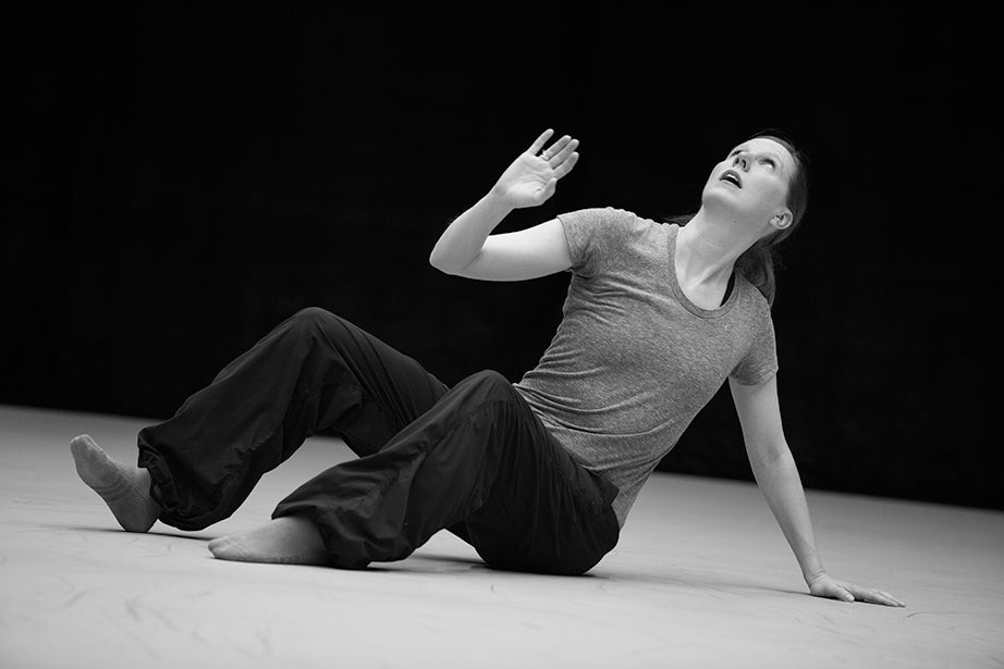 """Jill Johnson strikes a pose during rehearsal. """"I really truly believe as a radical optimist that the power of the arts really is potent,"""" said Johnson. """"It's nonverbal; it's of the body."""""""