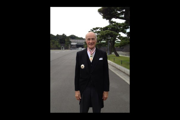 Harvard University Distinguished Service Professor Joseph S. Nye was presented with the Order of the Rising Sun, Gold and Silver Star by Emperor Akihito of Japan at the Imperial Palace on Nov. 5.