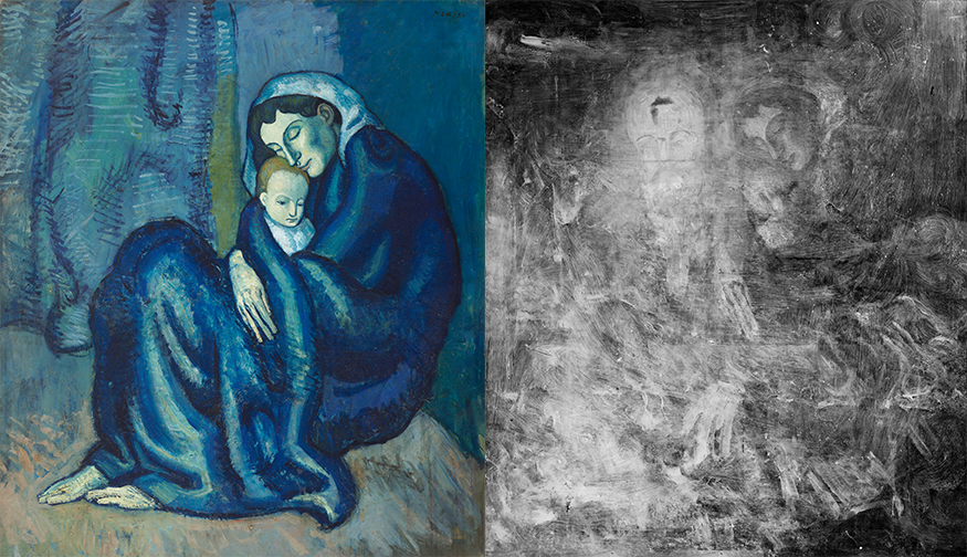 """Left: Pablo Ruiz Picasso """"Mother and Child,"""" c. 1901. © Estate of Pablo Picasso / Artists Rights Society (ARS), New York. Photo: Harvard Art Museums/Straus Center for Conservation and Technical Studies, © President and Fellows of Harvard College. Right: """"Mother and Child"""" (X-radiograph). © Estate of Pablo Picasso / Artists Rights Society (ARS), New York. Photo: Harvard Art Museums, © President and Fellows of Harvard College"""